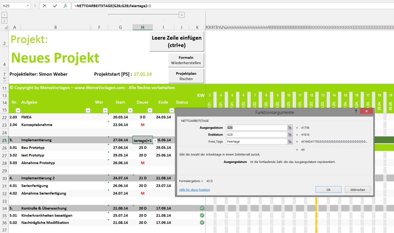 Projektplan - abhängige Dauer der Hauptaufgabe (in Arbeitstage)
