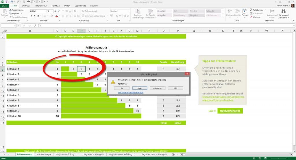 Nutzwertanalyse (Bild 1) - Fehlermeldung bei falschem Wert